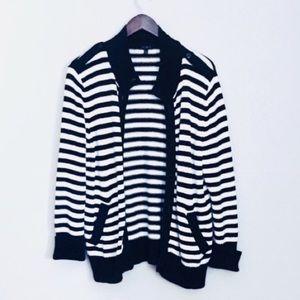• talbots thick-knit black & white cardigan •